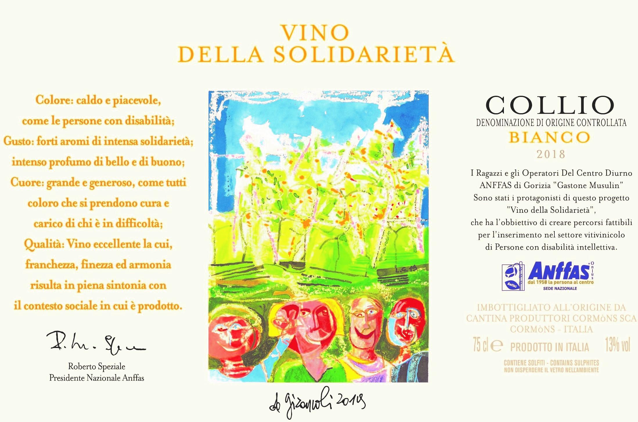 Etichetta vino solidarietà 2019